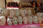 Sugar skulls on display at a street market in Patzcuaro.