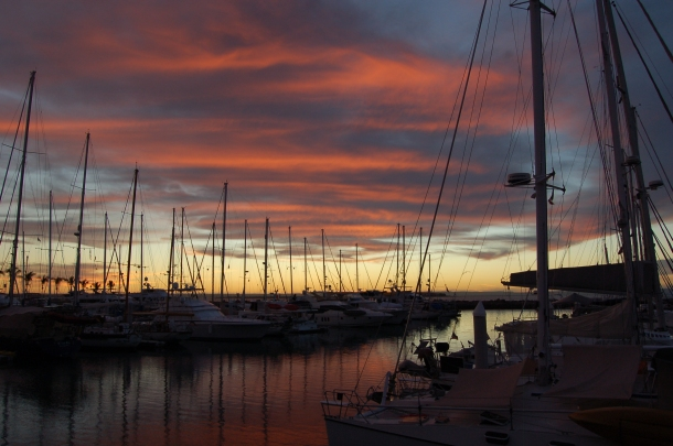 Another perfect sunset at the Palmira Marina, La Paz.